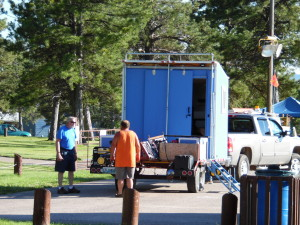 'What do we do now'  Garth, WY7GC and Rob, K7EMR begin setup on the antenna trailer